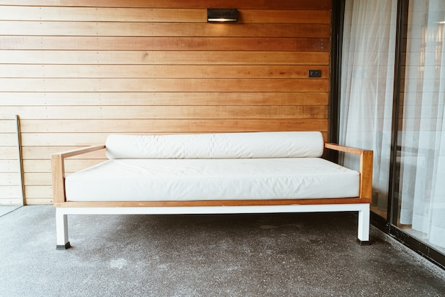 Empty bench sofa or sofa bed on balcony for relax