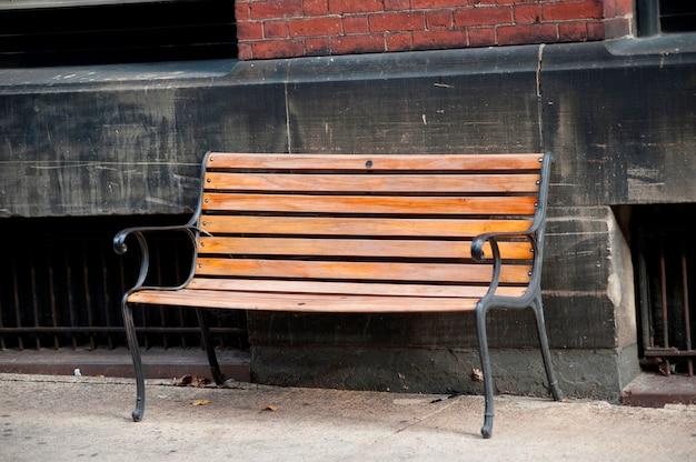 Empty bench on the street in boston, massachusetts, usa