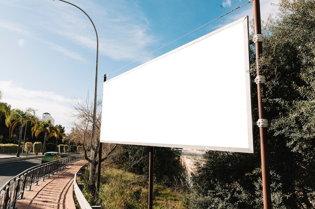 Empty big billboard on roadside