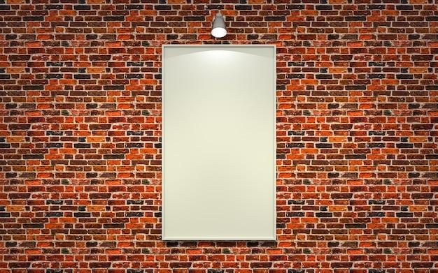 Пустой рекламный щит в комнате со старой красной кирпичной стеной. 3d-рендеринг