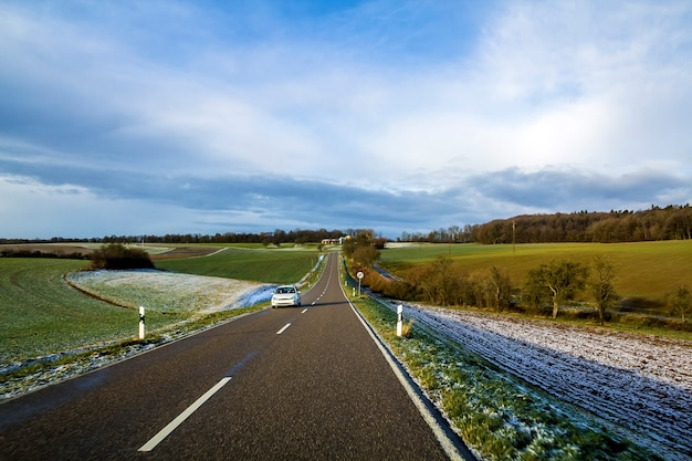 Empty black asphalt road
