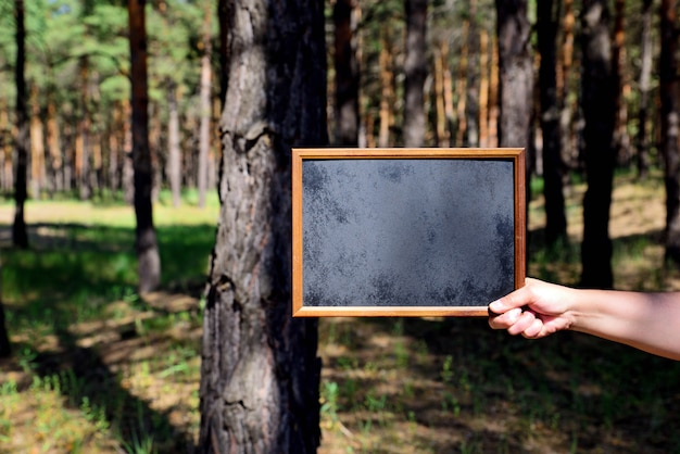 Empty black chalk board in the right hand of a man