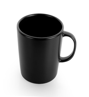 Empty black cup on white background