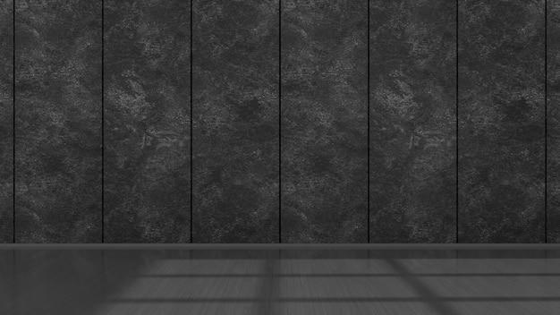 モックアップ、3dイラストの空の黒いインテリア
