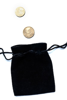 Empty black money bag on a white background and two euro cent coins, concept of savings, storage, growth, accumulation, decline.