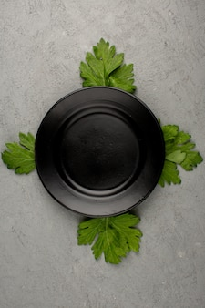 Empty black plate around four green leafs on a bright