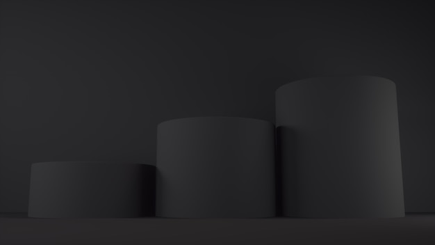 Empty black podium on dark background.