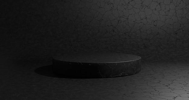 ディスプレイ製品の空の黒い表彰台。 3dレンダリング。