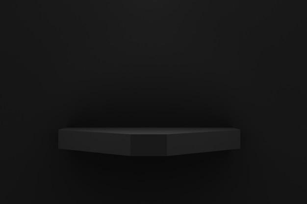 Empty black shelf on black wall