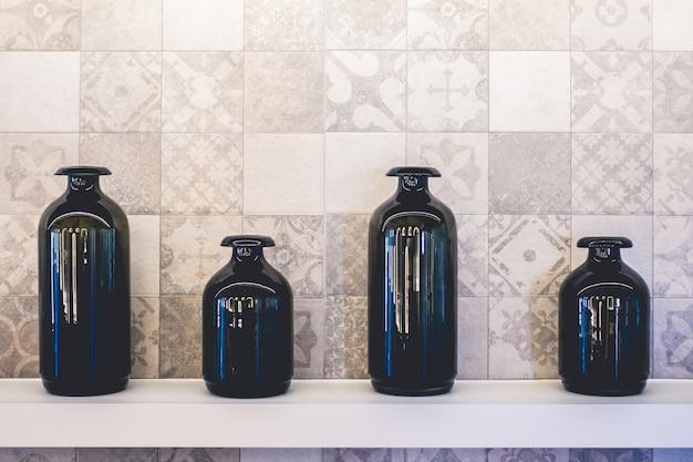 Empty black vase