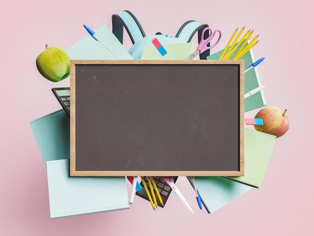 Пустая доска с деревянной рамой и школьными принадлежностями, плавающими позади в концепции обратно в школу, образование и обучение. 3d рендеринг
