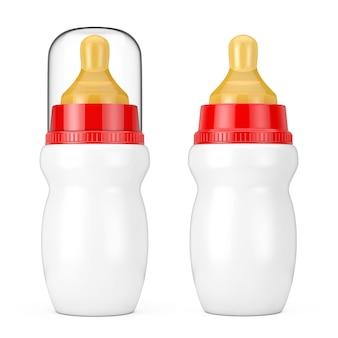 Пустая пустая детская бутылочка для молока с крышкой и соской-пустышкой на белом фоне. 3d рендеринг