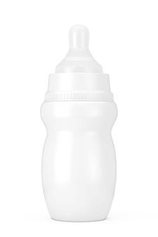 Пустая пустая детская бутылочка для молока с соской в стиле глины, макет на белом фоне. 3d рендеринг