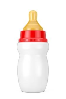 Пустая пустая детская бутылка молока с соской макет на белом фоне. 3d рендеринг