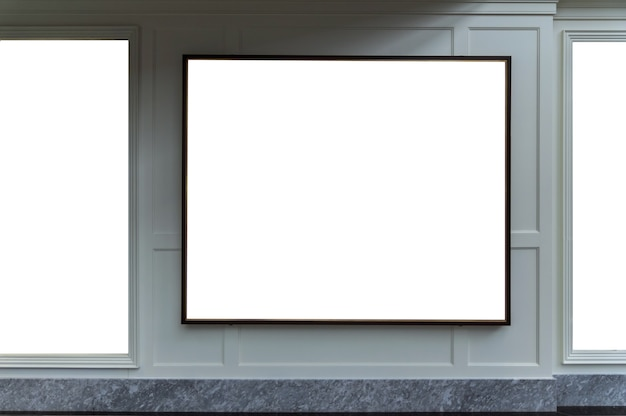 Empty blank billboard for advertise in shopping mall interior