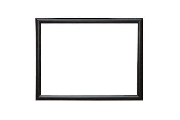 Пустая пустая черная изолированная фоторамка на белой стене