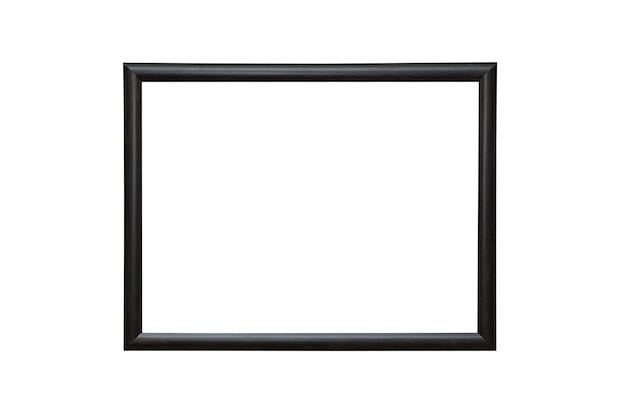 Empty blank black isolated photo frame on white wall