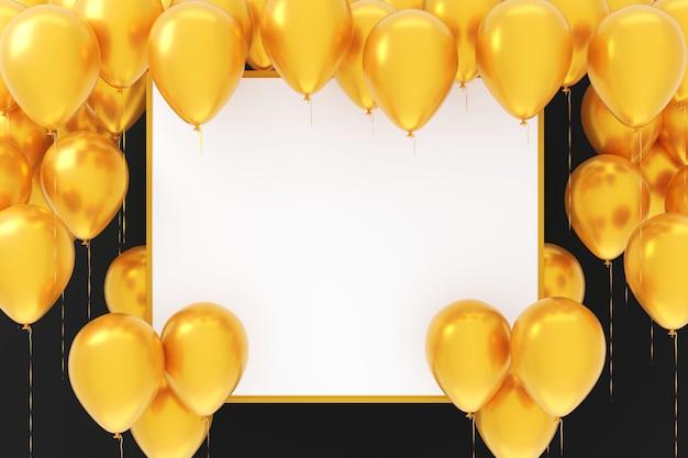 Пустая пустая доска с желтыми воздушными шарами на черном фоне