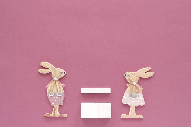 Empty blank cubes calendar pair of rabbits wooden figures