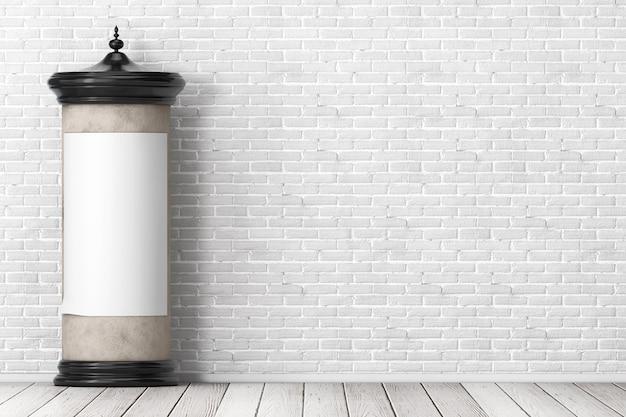 レンガの壁の前にあなたのデザインのための空きスペースを持つ空の空白の円筒形の広告柱看板モックアップ。 3dレンダリング