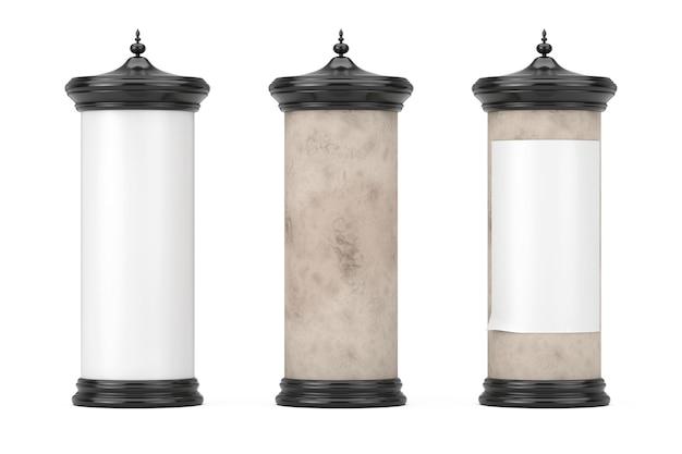白い背景の上のあなたのデザインのための空きスペースと空の空白の円筒形の広告柱看板モックアップ。 3dレンダリング