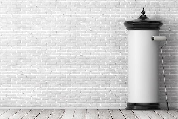 レンガの壁の前に接着剤ブラシであなたのデザインのための空きスペースを持つ空の空白の円筒形の広告柱看板モックアップ。 3dレンダリング