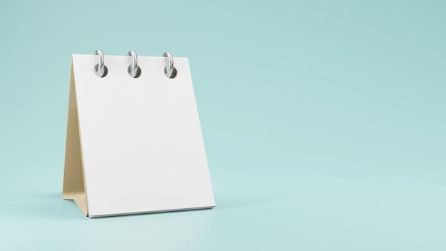 空の白紙の卓上カレンダーモックアップ3dレンダリング