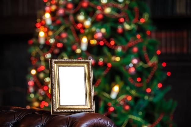 크리스마스에 빈 빈 사진 프레임 장식 장난감 조명 defocused 배경