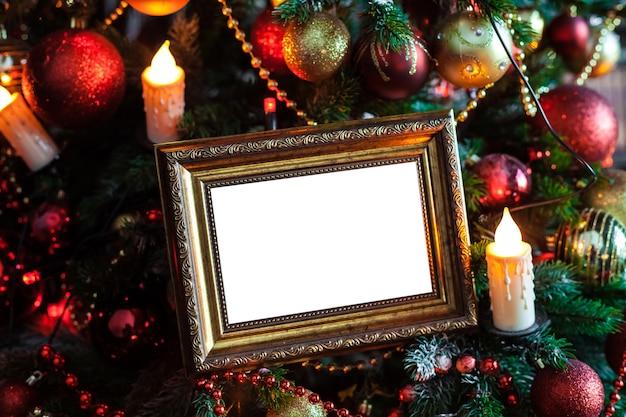 장난감 및 촛불 조명 빈 빈 사진 프레임