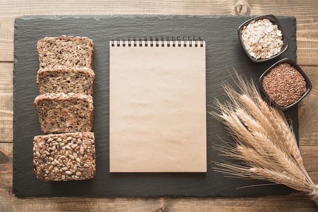 Empty blank for recipe of bread.