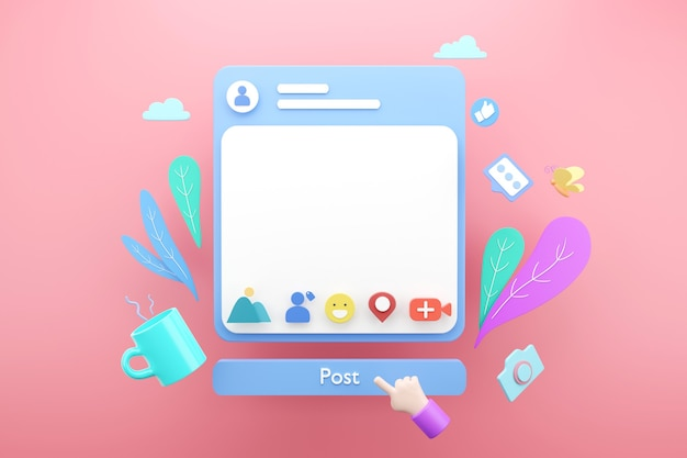 Пустое пустое приложение для пост-рамки в социальных сетях онлайн для концепции текстовой рекламы, 3d визуализация