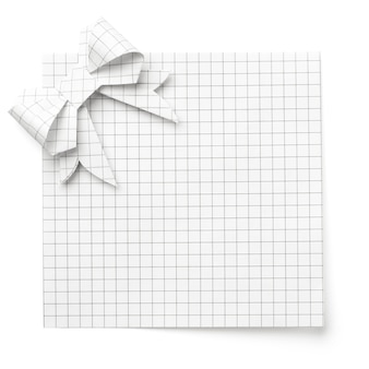 부드러운 그림자와 함께 흰색에 고립 된 종이의 활과 빈 빈