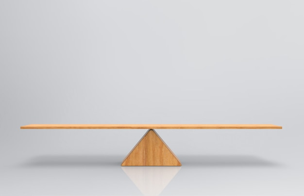 An empty blank wood balance scale on gray background.