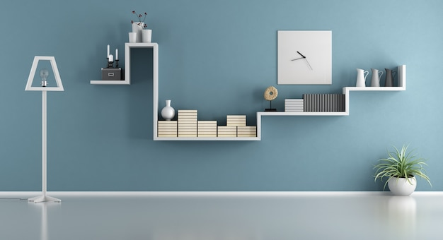 Empty blue living room with shelf and floor lamp. 3d rendering
