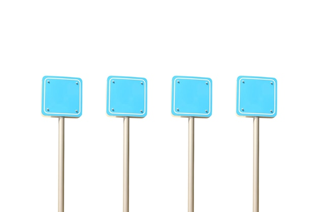 Empty blue traffic signal poles isolated on white