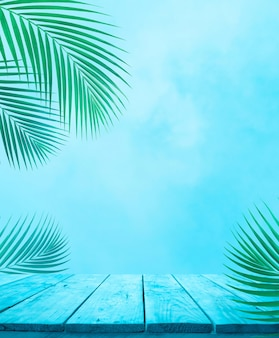 Empty of blue wood table top with coconut leaf on soft sky background.for montage product display or design keyvisual layout.holiday summer
