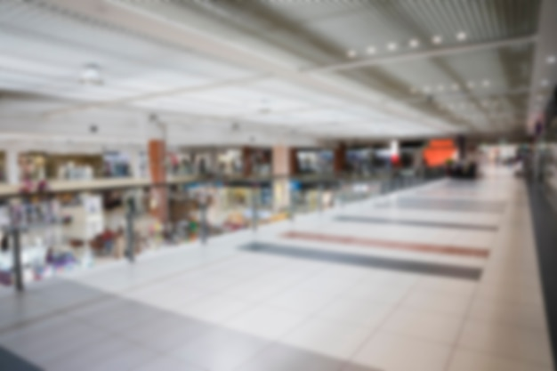 Empty blurred shopping mall