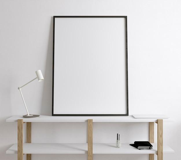 Empty board on wooden shelf
