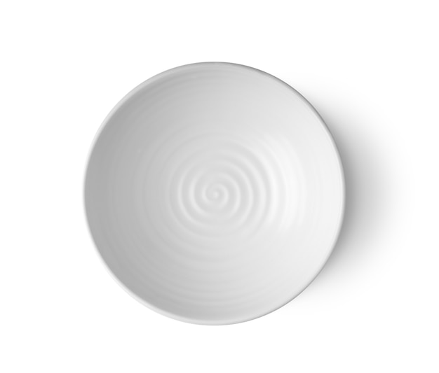 Empty bowl isolated on white background top view