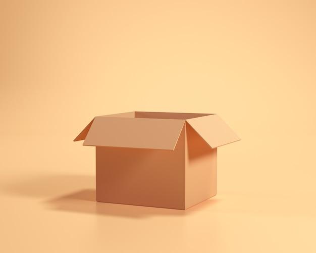 Empty box cartoon style on yellow background. 3d render illustration