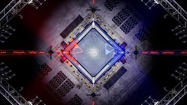 空のボクシングアリーナの上面図