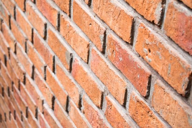 Empty brick texture background, side view.
