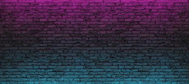 파란색과 분홍색 네온 빛으로 빈 벽돌 벽