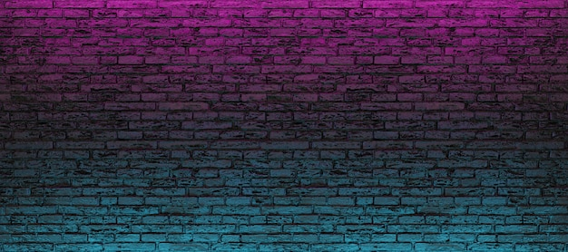 Empty brick wall with blue and pink neon light
