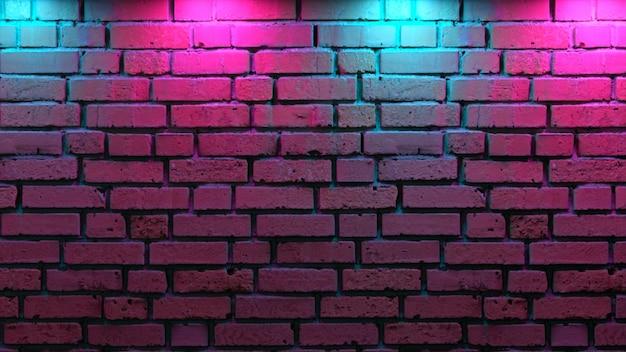 Пустая кирпичная стена с неоновым светом Premium Фотографии