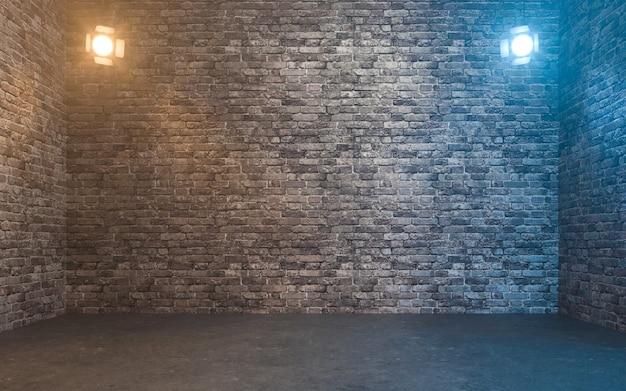 Пустая кирпичная стена с точечными светильниками. 3d рендеринг
