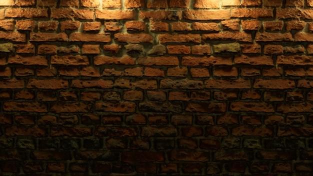 暖かい光で空のレンガの壁