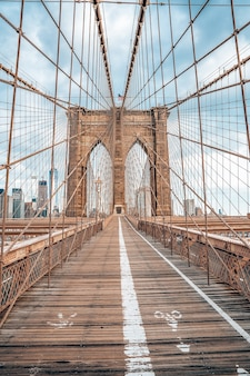 Empty brooklyn bridge in lower manhattan, new york