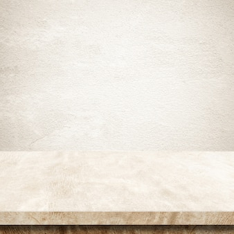 Empty brown cement table over brown wall background