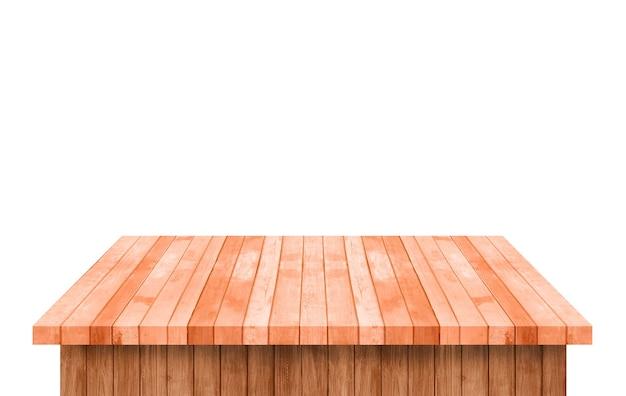 空の茶色の木の棚テーブルは白い背景で隔離。あなたの製品のモンタージュのために